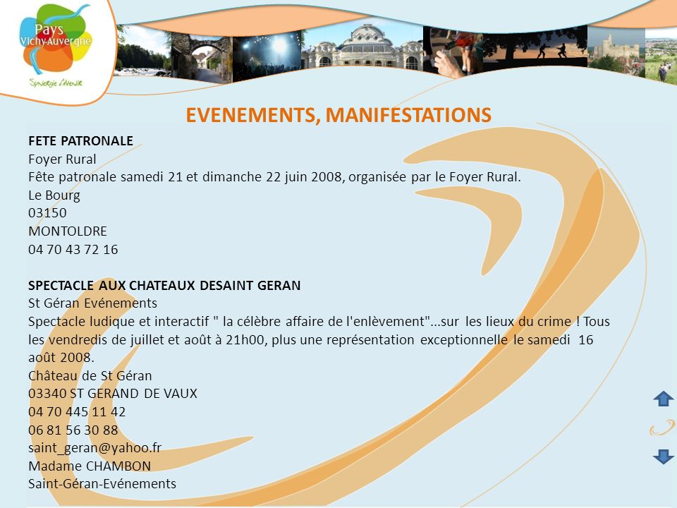 EVENEMENTS, MANIFESTATIONS