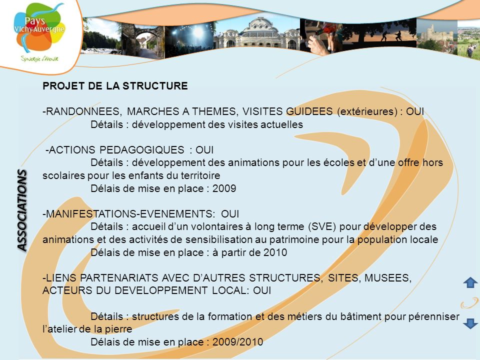 ASSOCIATIONS PROJET DE LA STRUCTURE