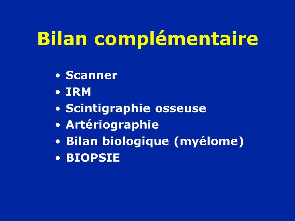 Bilan complémentaire Scanner IRM Scintigraphie osseuse Artériographie