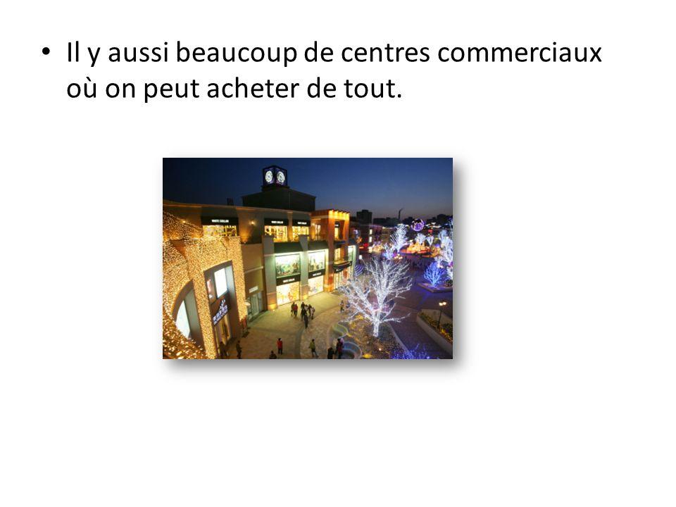 Il y aussi beaucoup de centres commerciaux où on peut acheter de tout.