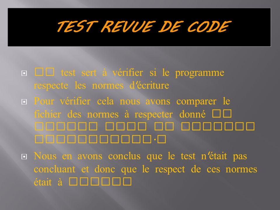 Ce test sert à vérifier si le programme respecte les normes d écriture