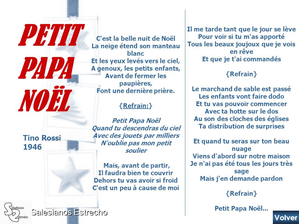 PETIT PAPA NOËL Salesianos Estrecho Tino Rossi 1946 Volver