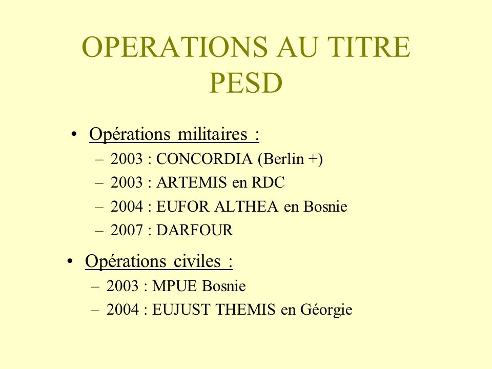 OPERATIONS AU TITRE PESD