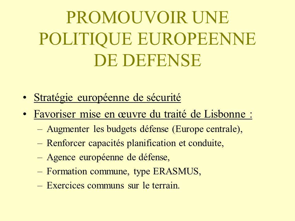 PROMOUVOIR UNE POLITIQUE EUROPEENNE DE DEFENSE
