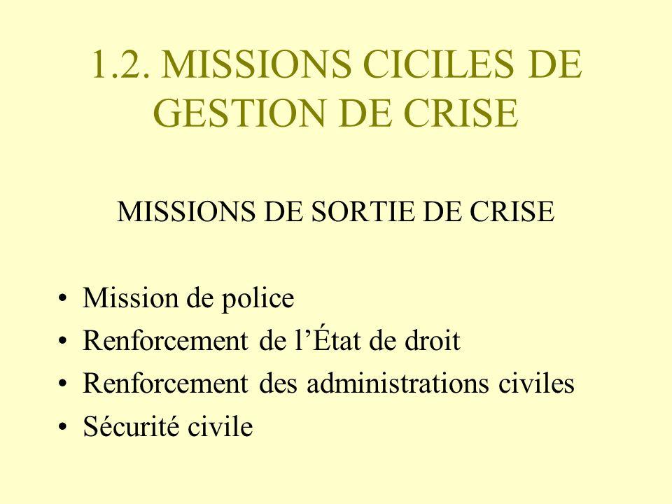 1.2. MISSIONS CICILES DE GESTION DE CRISE