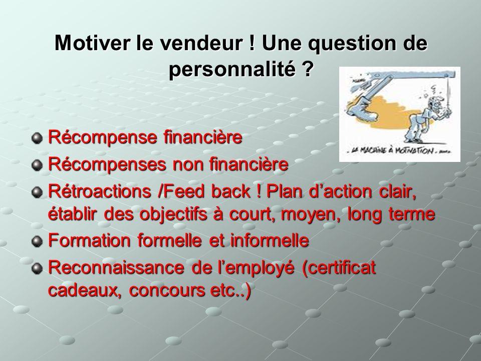 Motiver le vendeur ! Une question de personnalité