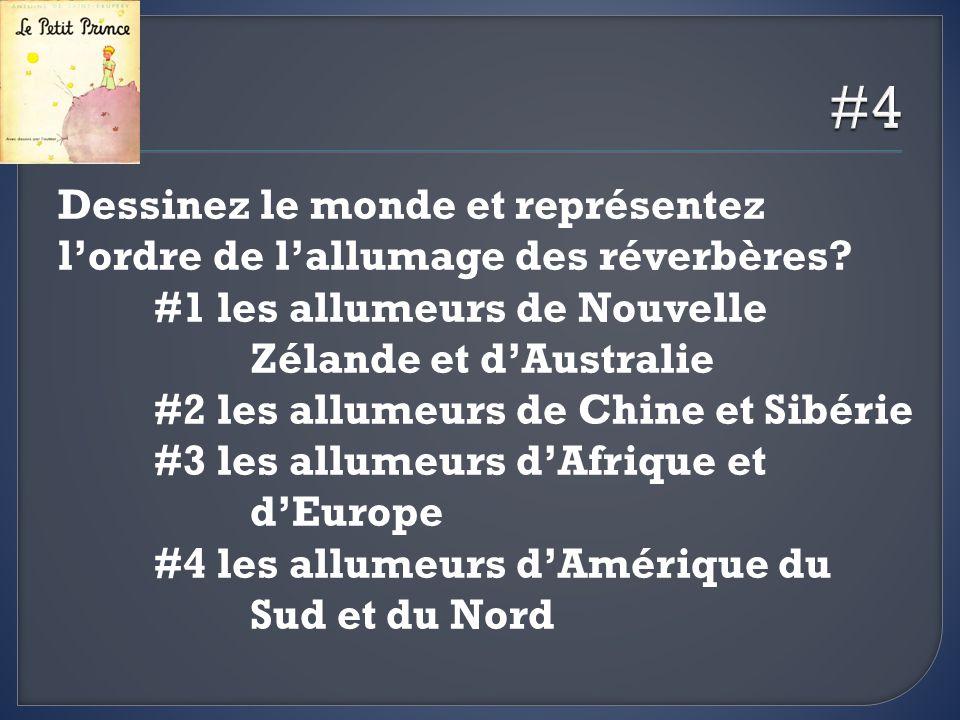 #4 Dessinez le monde et représentez l'ordre de l'allumage des réverbères #1 les allumeurs de Nouvelle Zélande et d'Australie.