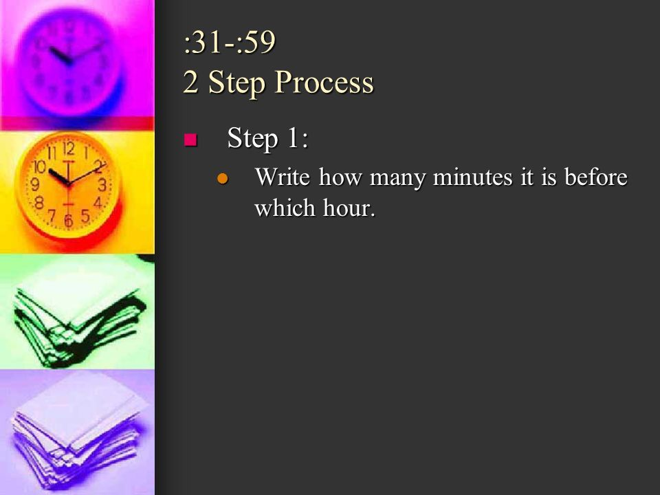 :31-:59 2 Step Process Step 1: Write how many minutes it is before which hour.