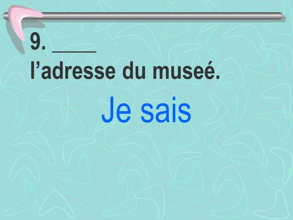 9. ____ l'adresse du museé.