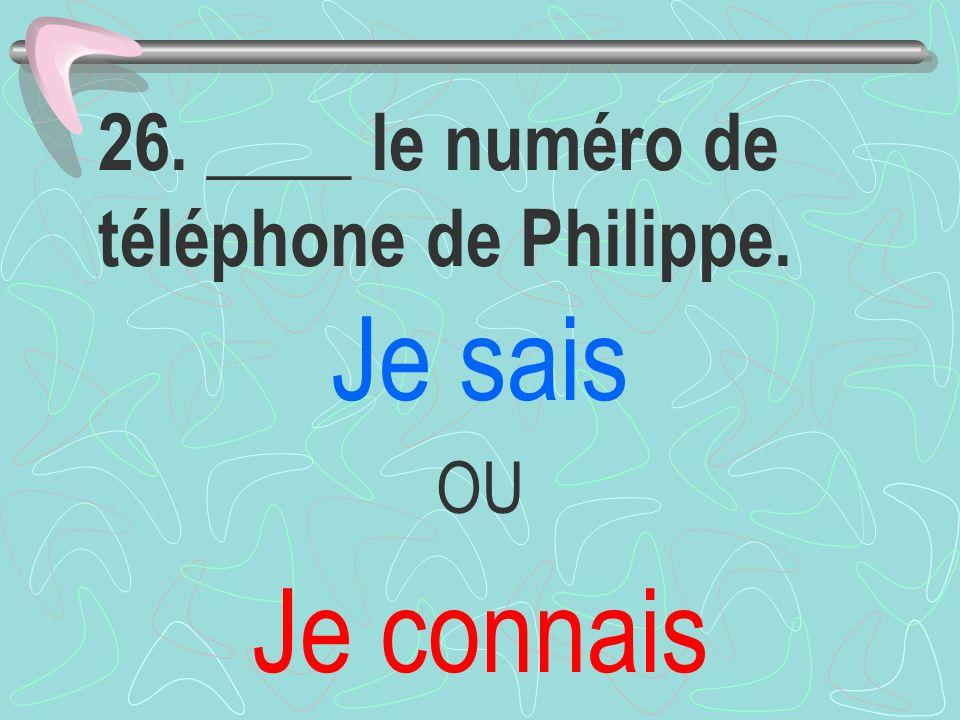 26. ____ le numéro de téléphone de Philippe.