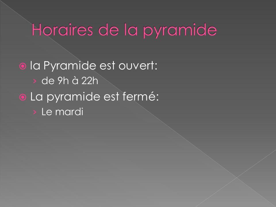 Horaires de la pyramide
