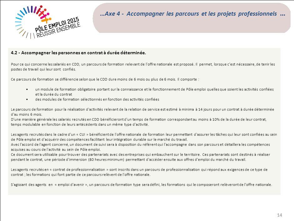 …Axe 4 - Accompagner les parcours et les projets professionnels …