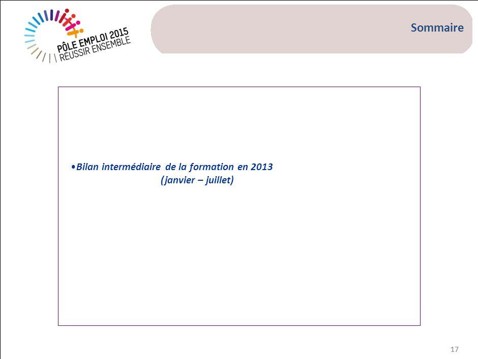 Préambule L'objectif de ce bilan intermédiaire est de donner une vision de l'activité formation sur le 1er semestre 2013 ( janvier – juillet)