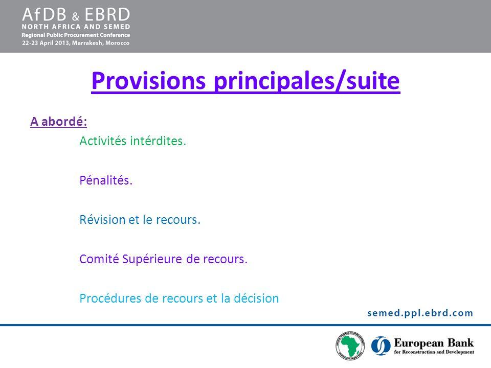 Provisions principales/suite