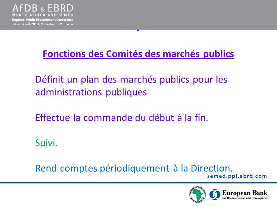 Fonctions des Comités des marchés publics