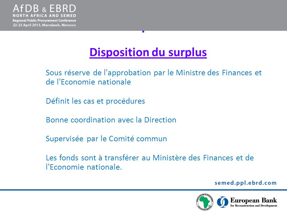 Disposition du surplus