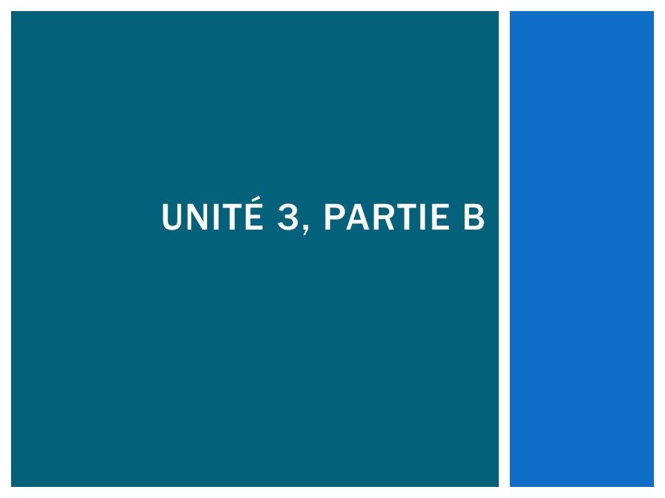 Unité 3, Partie B
