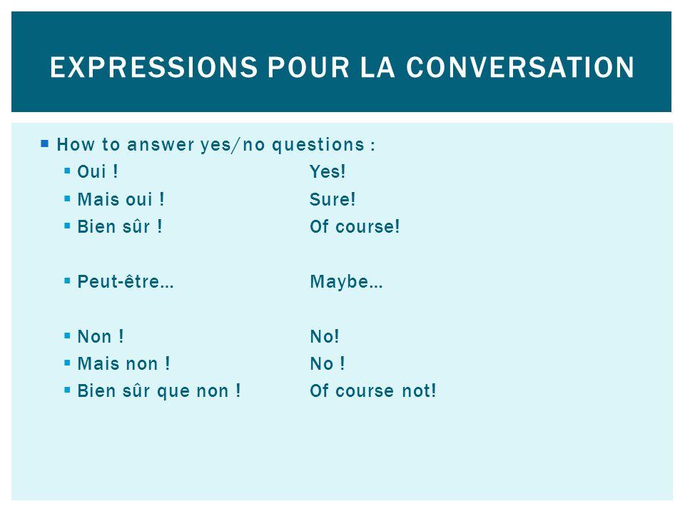 Expressions pour la conversation