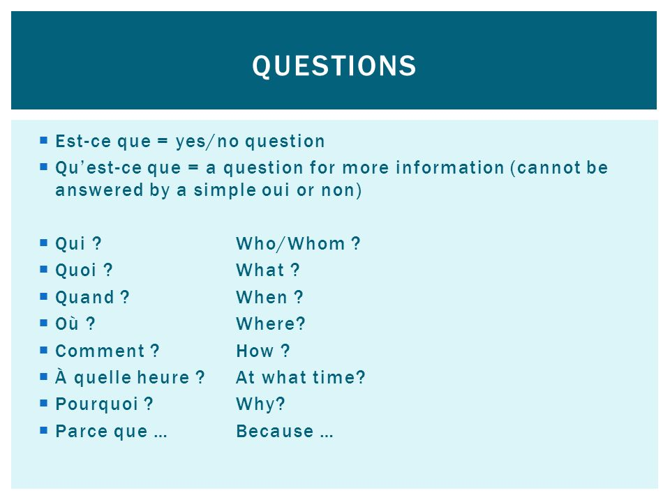 Questions Est-ce que = yes/no question