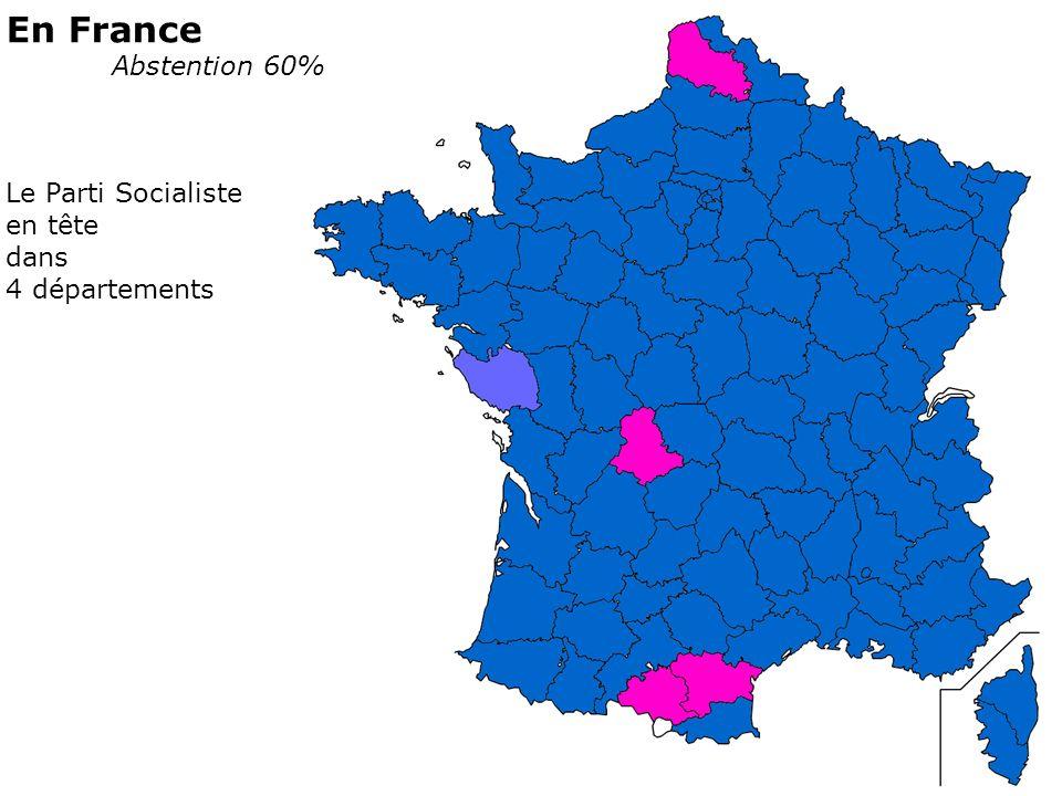 En France Abstention 60% Le Parti Socialiste en tête dans