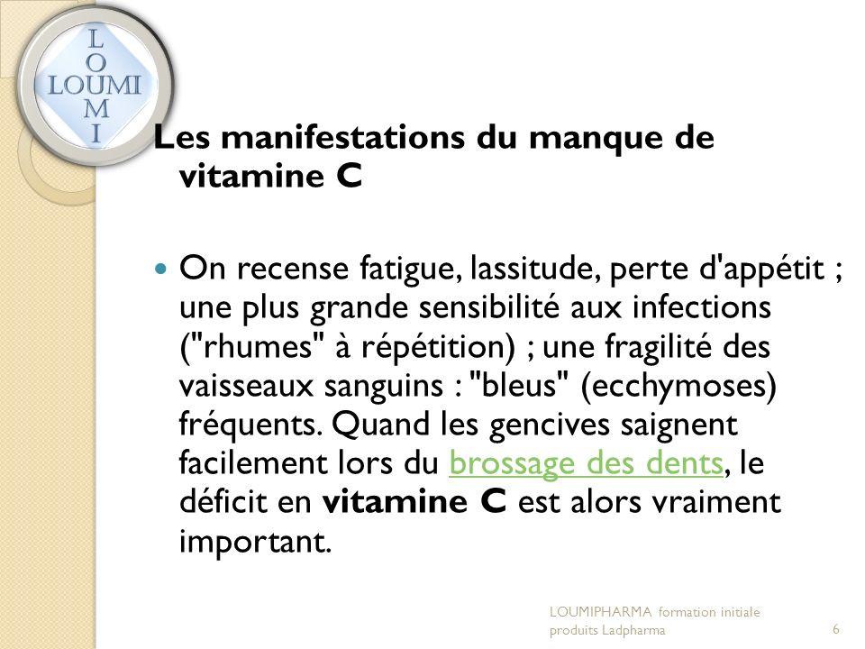 Les manifestations du manque de vitamine C