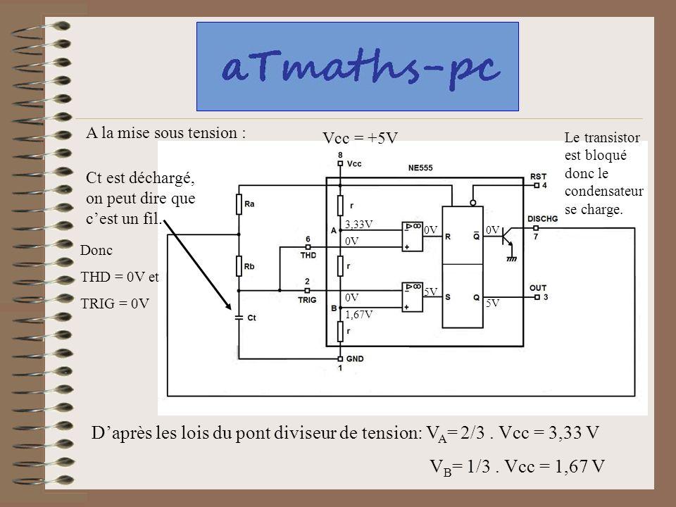 D'après les lois du pont diviseur de tension: VA= 2/3 . Vcc = 3,33 V