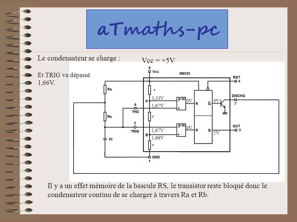 Le condensateur se charge : Vcc = +5V
