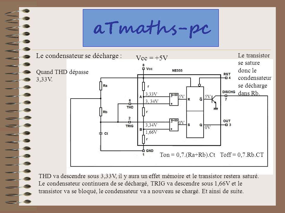 Le condensateur se décharge : Vcc = +5V
