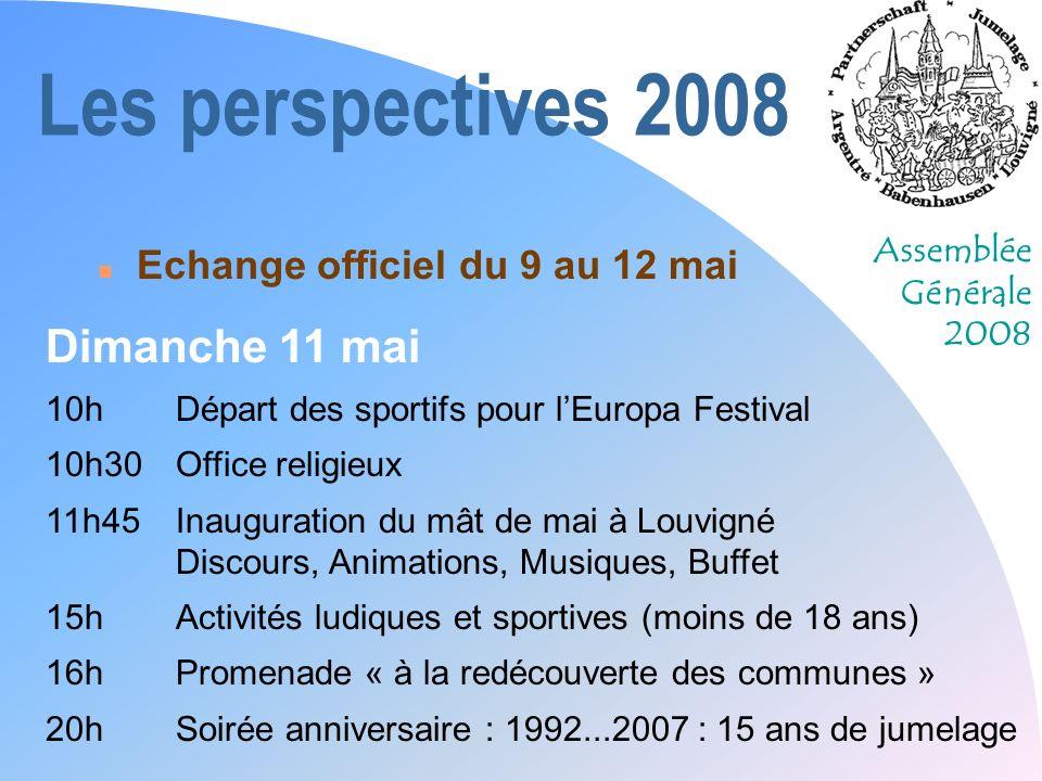 Les perspectives 2008 Dimanche 11 mai Echange officiel du 9 au 12 mai