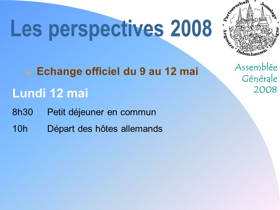 Les perspectives 2008 Lundi 12 mai Echange officiel du 9 au 12 mai