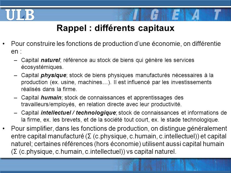 Rappel : différents capitaux