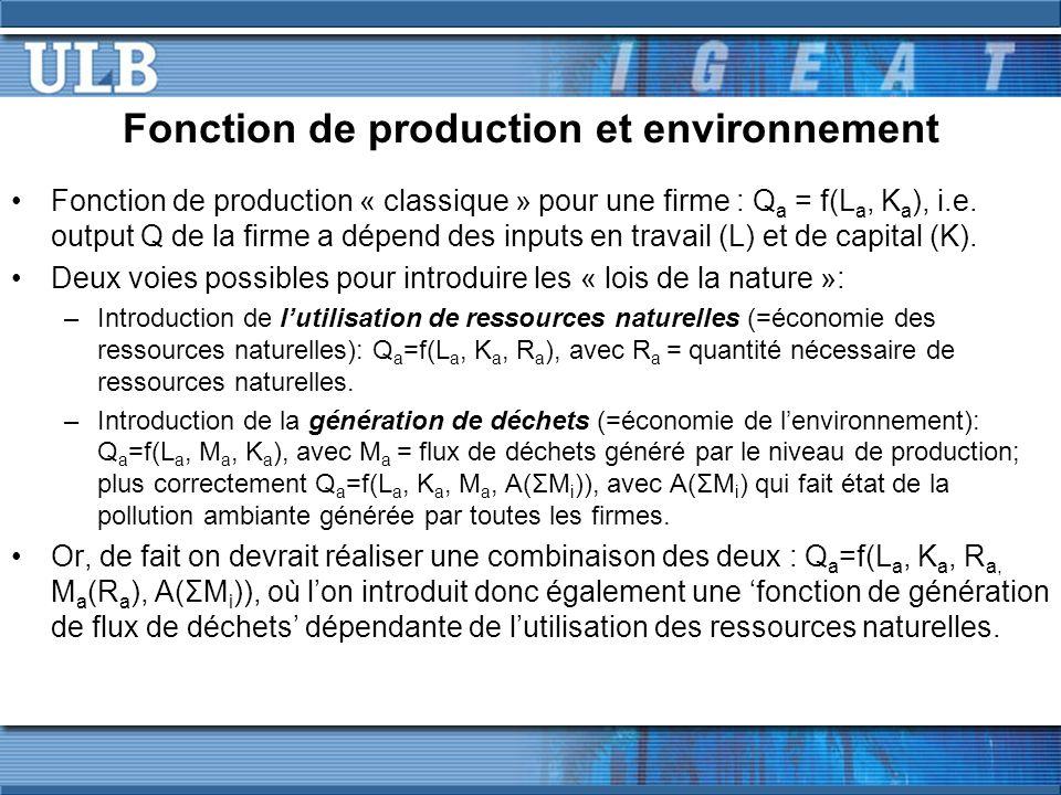 Fonction de production et environnement