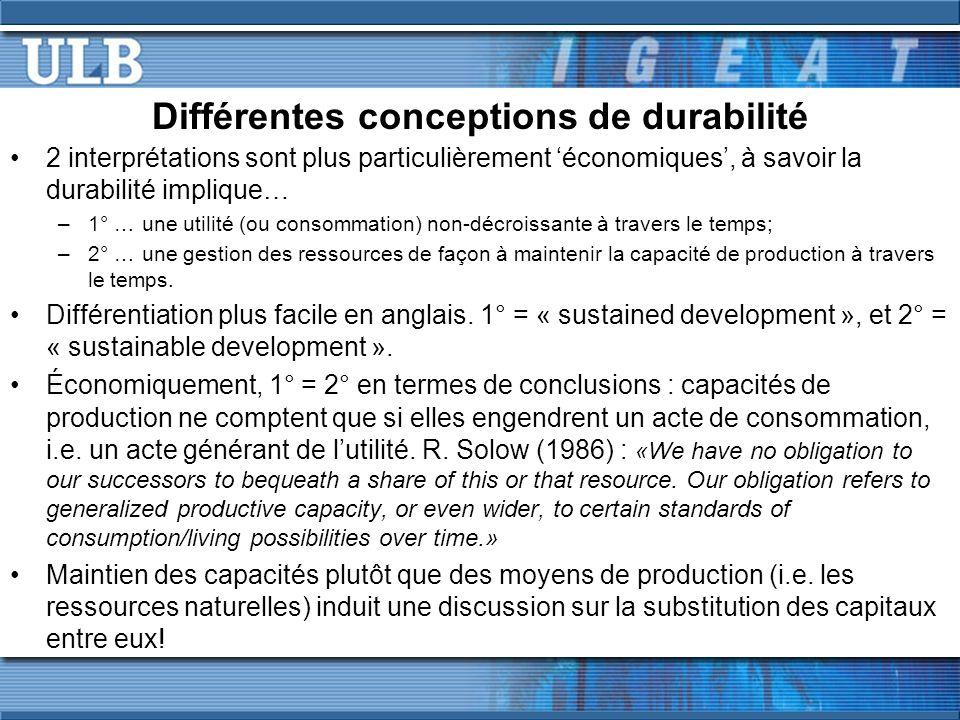 Différentes conceptions de durabilité