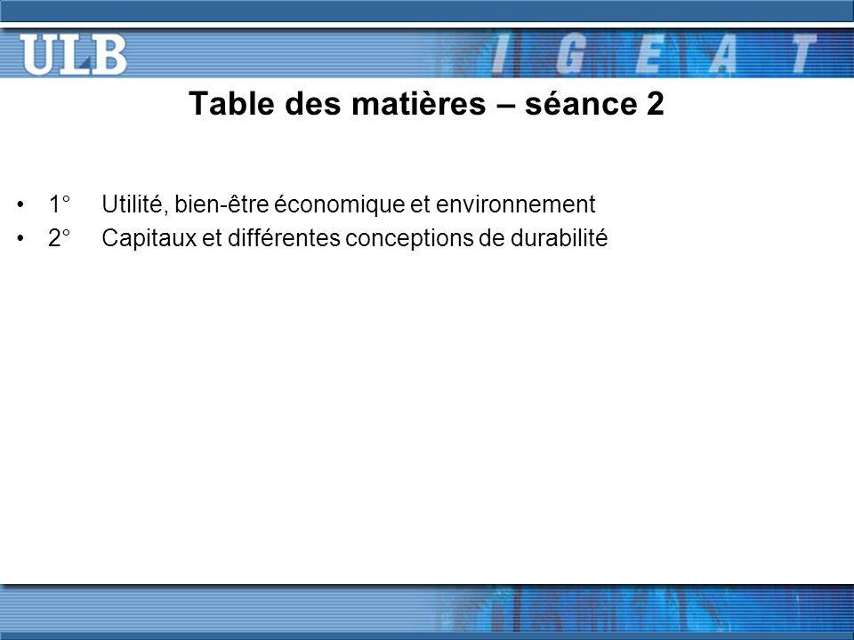 Table des matières – séance 2