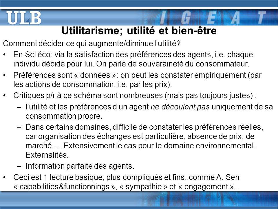 Utilitarisme; utilité et bien-être