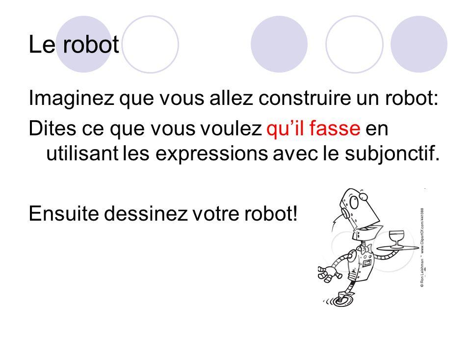 Le robot Imaginez que vous allez construire un robot: