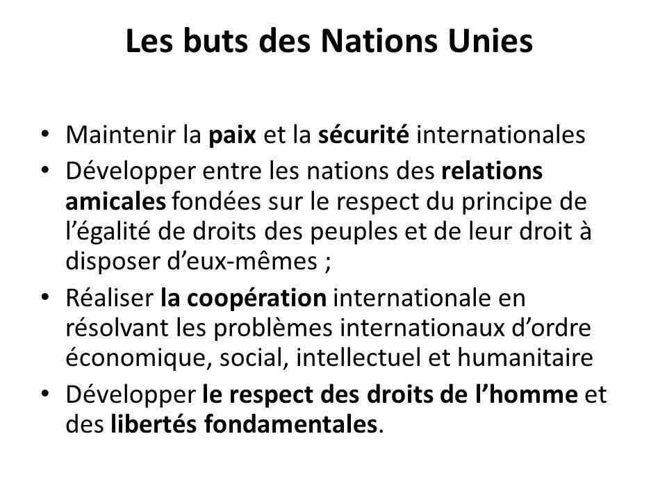 Les buts des Nations Unies