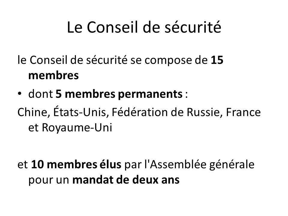 Le Conseil de sécurité le Conseil de sécurité se compose de 15 membres