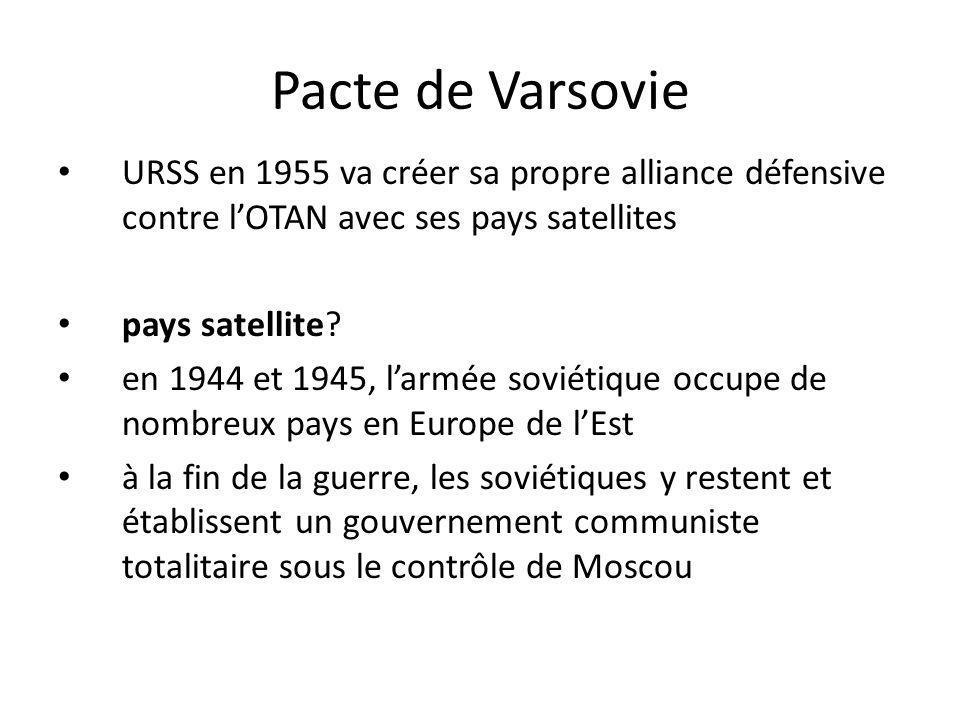 Pacte de Varsovie URSS en 1955 va créer sa propre alliance défensive contre l'OTAN avec ses pays satellites.