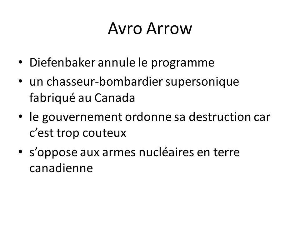 Avro Arrow Diefenbaker annule le programme