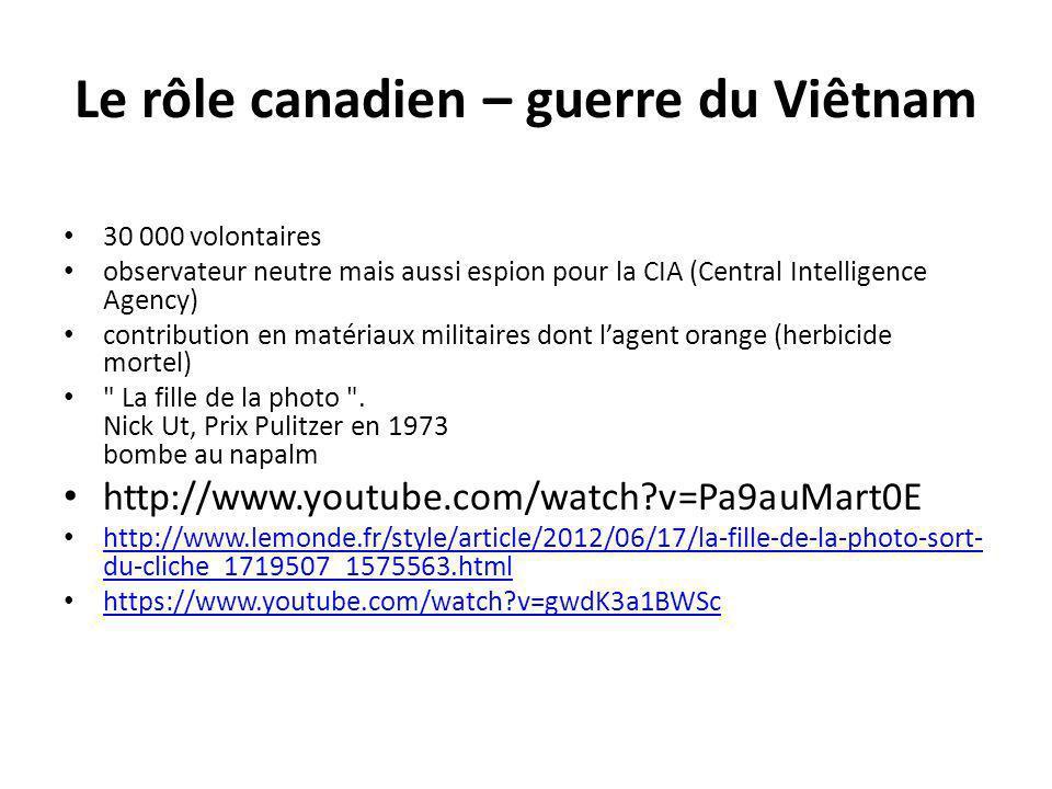 Le rôle canadien – guerre du Viêtnam
