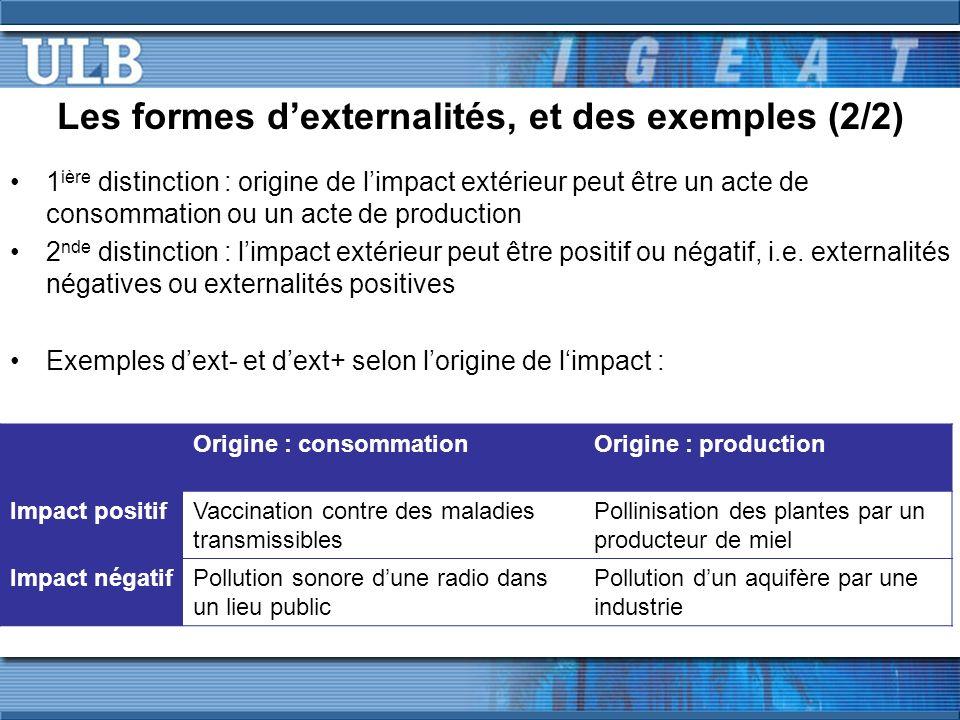 Les formes d'externalités, et des exemples (2/2)
