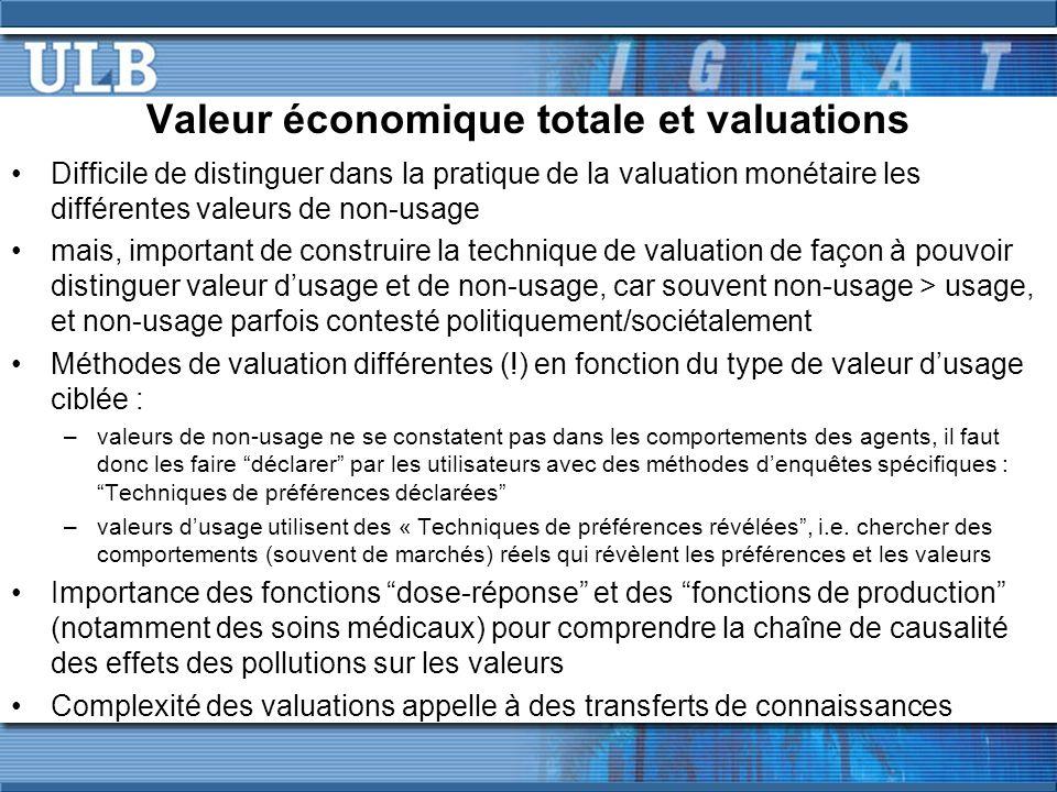Valeur économique totale et valuations