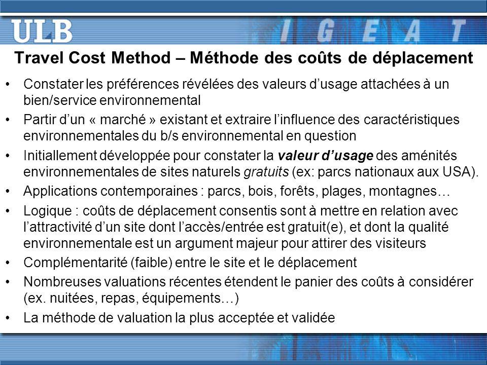 Travel Cost Method – Méthode des coûts de déplacement