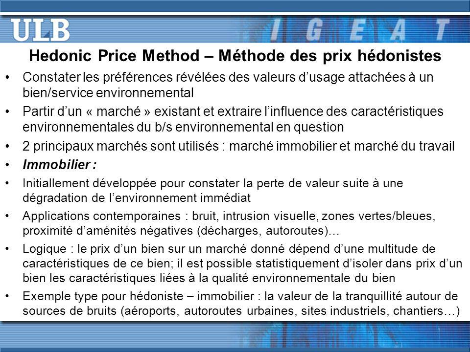 Hedonic Price Method – Méthode des prix hédonistes