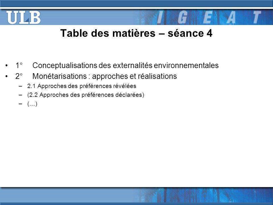 Table des matières – séance 4