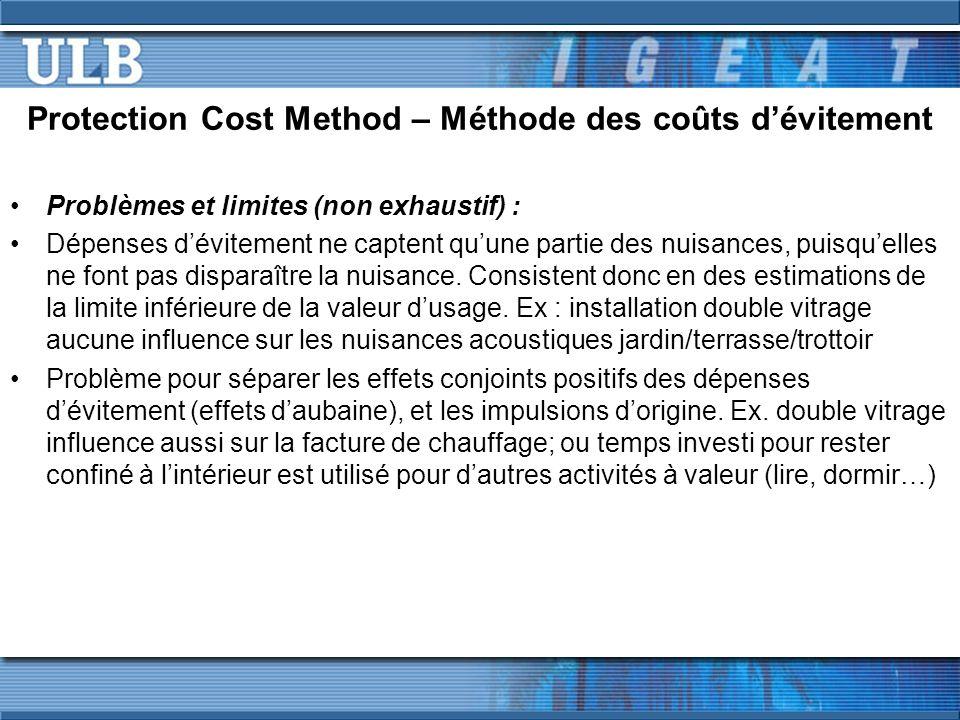 Protection Cost Method – Méthode des coûts d'évitement