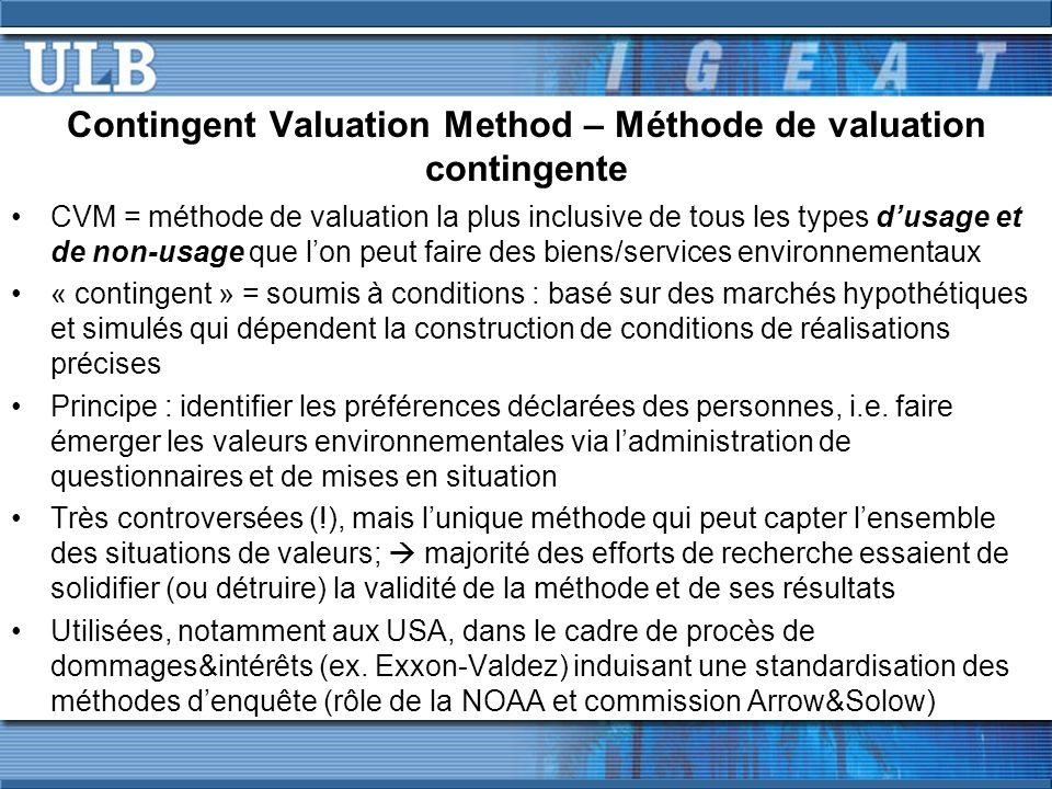 Contingent Valuation Method – Méthode de valuation contingente