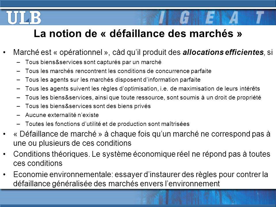 La notion de « défaillance des marchés »