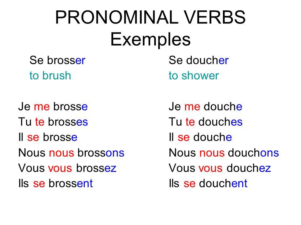 PRONOMINAL VERBS Exemples